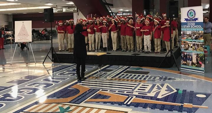 Jo Mackey performance at airport