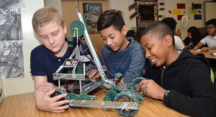 Bridger MS students and their robot