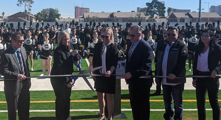 Clark HS celebrates new football field