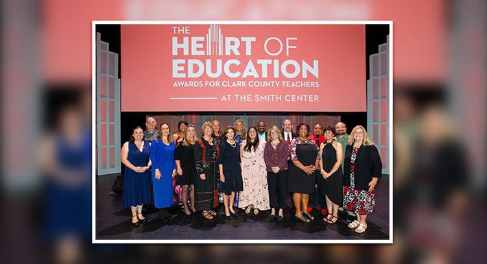 2019 Heart of Education Award winners pose with Laura Bush